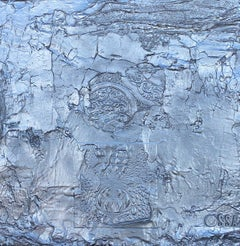 Silver Contemporary Original Abstract Mixed Media Painting 24x24