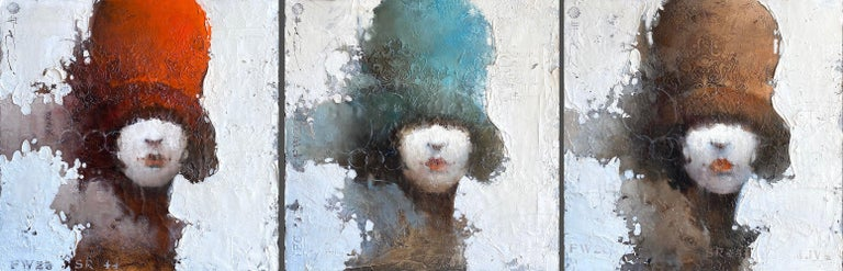 Andre Kohn  Portrait Painting - Contemporary Modern Portrait Figurative Painting Women Hat Face 26x78 Triptych