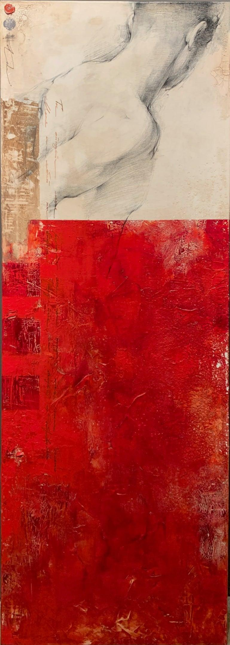 Modern Red Neutral Contemporary Figurative Drawing Male Figure Mixed Media 60x20