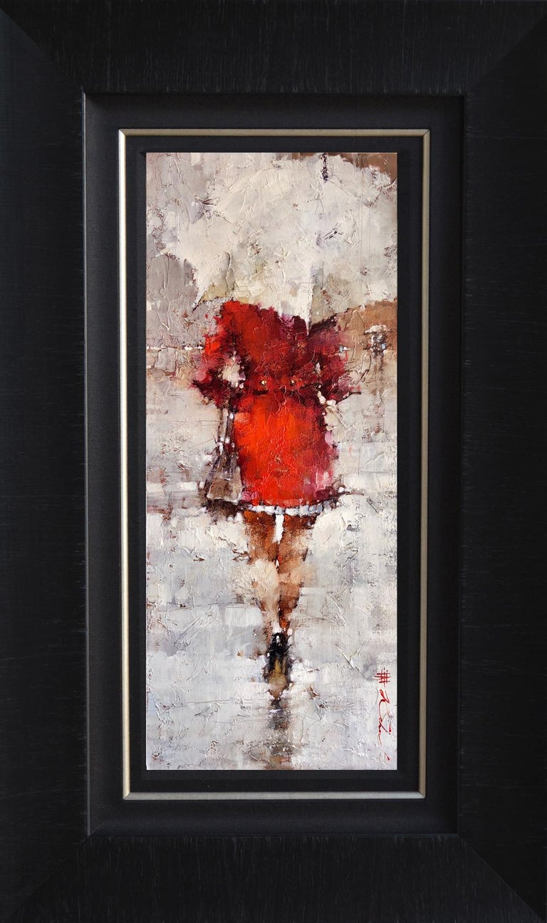Original Oil Painting Woman in Red White Umbrella Framed