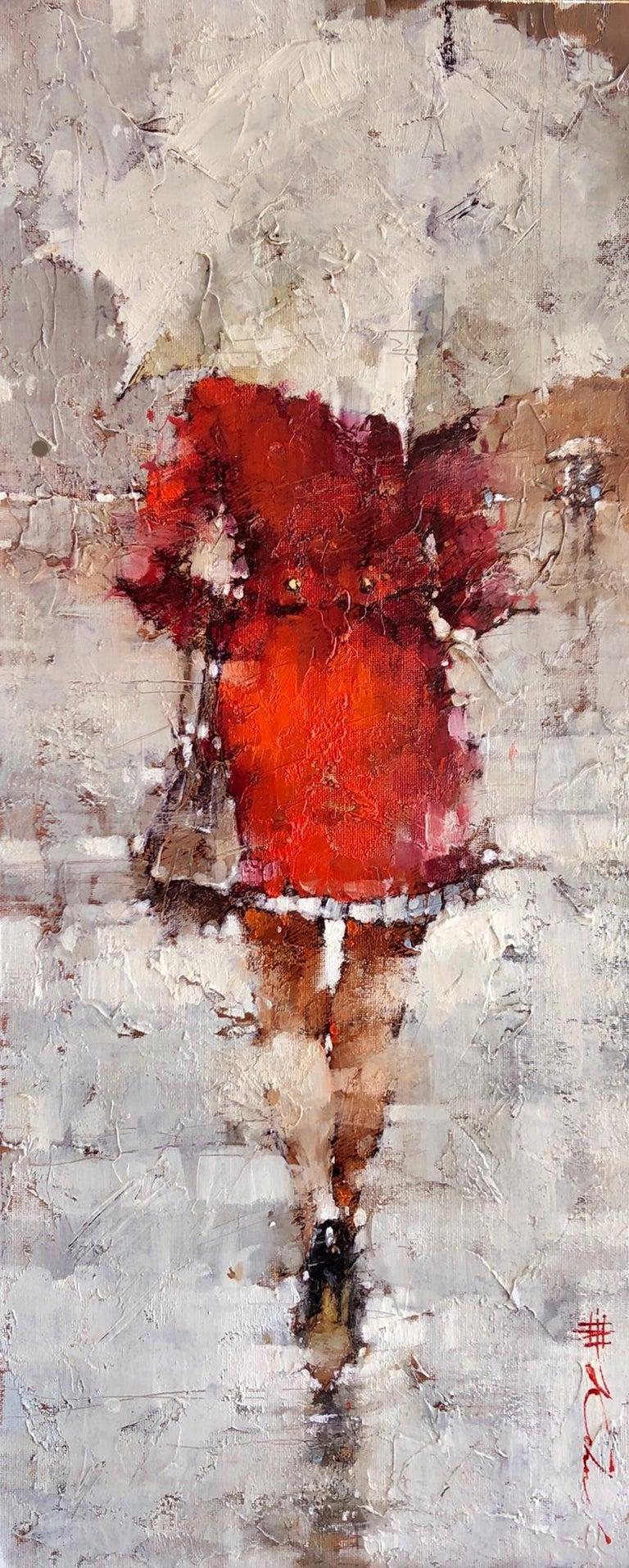 """Andre Kohn  Figurative Painting - Original Oil Painting Woman in Red White Umbrella Framed """"November Sprinkles"""""""