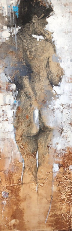 Nude Female Modern Contemporary Figurative Painting 36x12 Framed