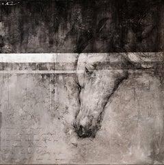 "Oversized Modern Black White Grey Horse Original Contemporary Painting 80"" x 80"""