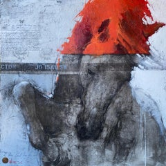 Oversized Fiery Red Gray White Horse Original Modern Contemporary Painting 80x80