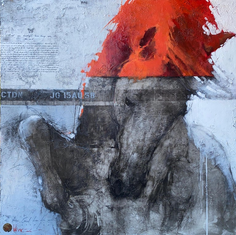 Oversized Fiery Red Gray White Horse Original Modern Contemporary Painting 80x80 - Mixed Media Art by Andre Kohn