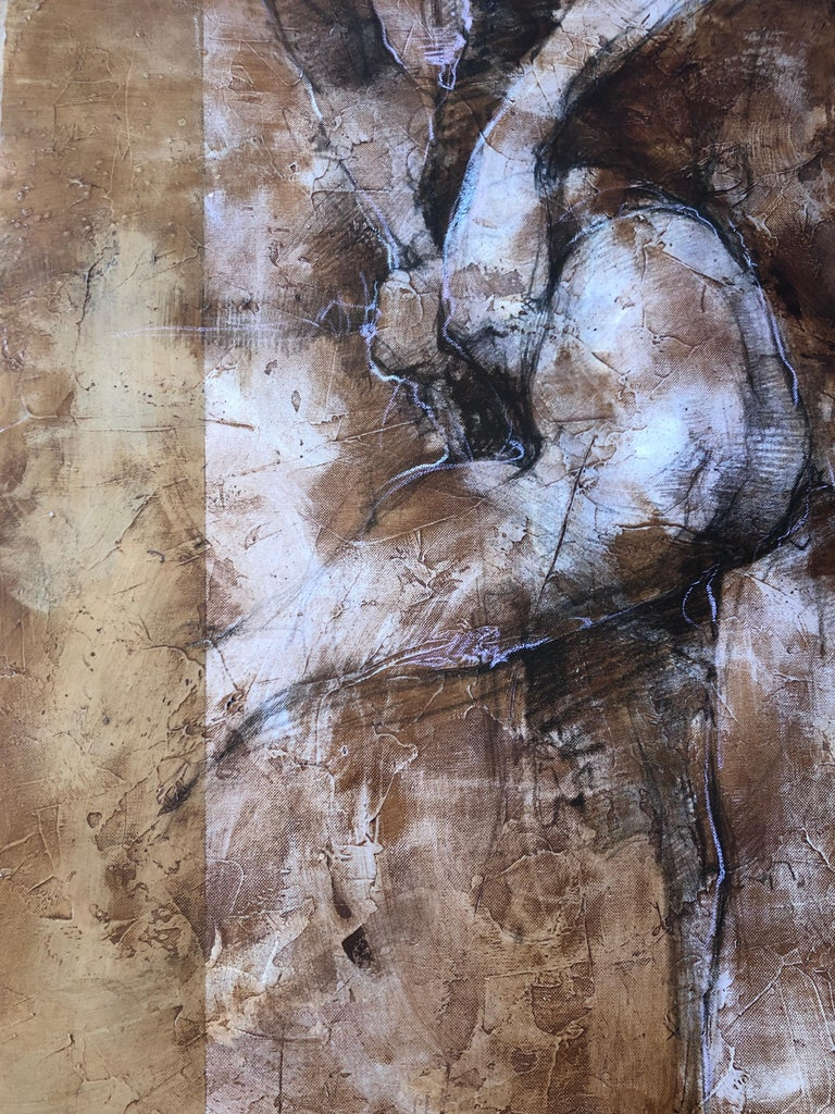Weathered Distressed Brown Cream Purple Contemporary Figurative Abstract Woman For Sale 1