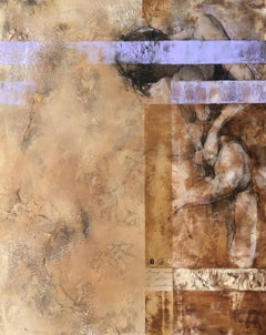 Weathered Distressed Brown Cream Purple Contemporary Figurative Abstract Woman