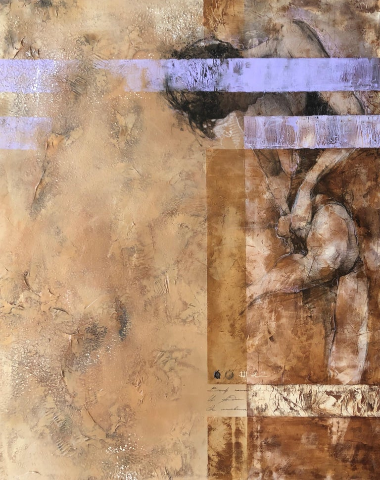 Andre Kohn  Figurative Painting - Weathered Distressed Brown Cream Purple Contemporary Figurative Abstract Woman