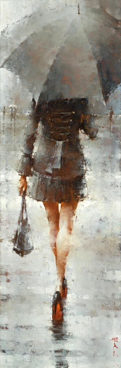 "Andre Kohn. ""The Black Swan"" Limited Edition Giclee Canvas Print. 60"" x 20""."