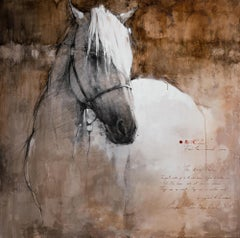 Large Canvas Print White Horse Weathered Neutral Colors  60x60, Edition of 95
