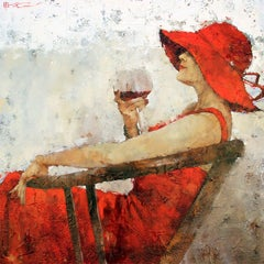 Print Canvas Woman Fiery Red Dress Vibrant Red Hat Wine 60x60, Edition of 95