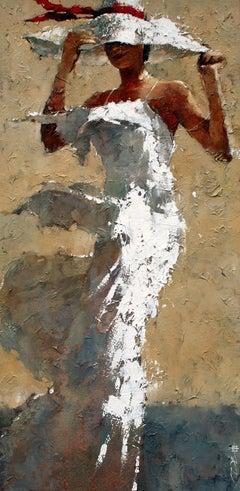 Print Canvas Woman Long White Dress White Hat Red Ribbon 48x24 Edition 95