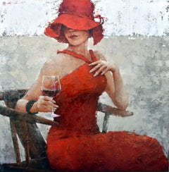 Print Canvas Woman Red Dress Red Hat Wine White Neutral 48x48, Edition of 95