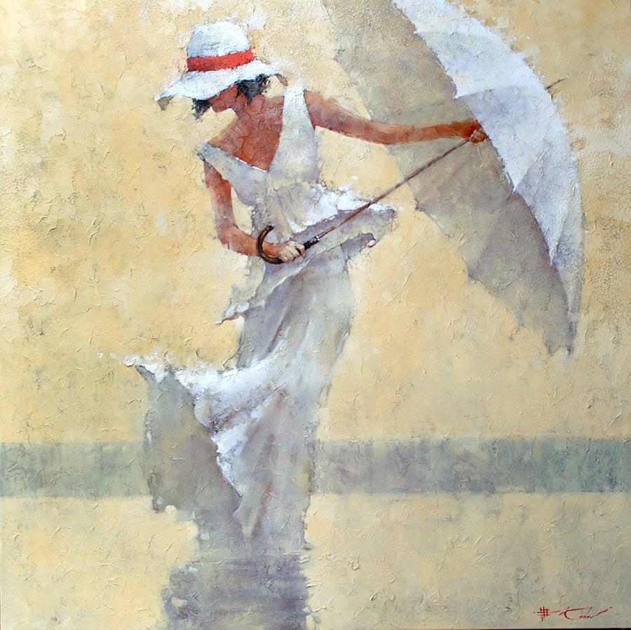 Print Canvas Woman White Summer Dress White Hat White Umbrella Beach Scene 60x60