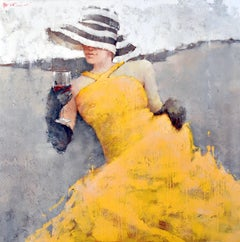Print Woman Yellow Dress Striped Hat Black Gloves Red Wine 60x60, edition of 95