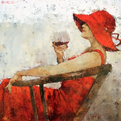 """Rhapsody on the theme of Chateau Marguax"" Limited Edition Print Woman Wine"