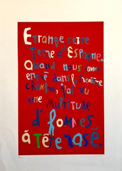 1970s Colorful Dada Lithograph Mourlot Caligraphic French Poetry Art Brut