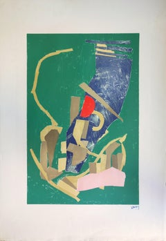 Abstract Composition on Green Background - Original lithograph