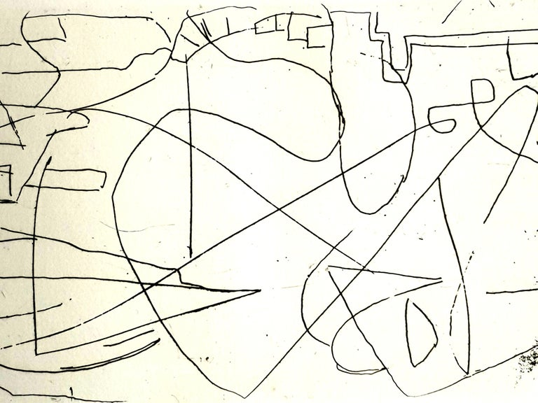 André Lanskoy - Composition - Original Etching - Abstract Expressionist Print by André Lanskoy