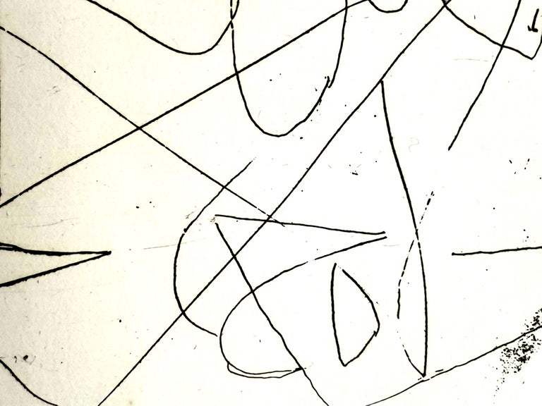 André Lanskoy - Composition - Original Etching - White Abstract Print by André Lanskoy
