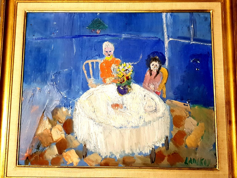 André Lanskoy - Lovers Interior Scene - Original Oil on Canvas - Modern Painting by André Lanskoy