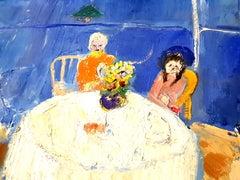 André Lanskoy - Lovers Interior Scene - Original Oil on Canvas