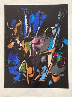 Composition abstraite sur fond noir