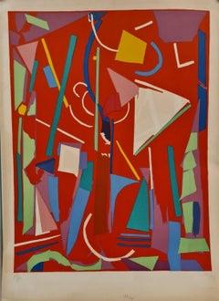 Composition sur fond Rouge