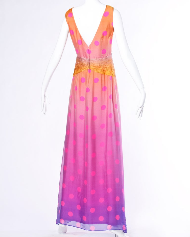 Pink Andre Laug Numbered Couture Vintage Ombre Silk Polka Dots Evening Gown/ Dress For Sale