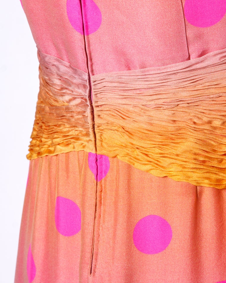 Andre Laug Numbered Couture Vintage Ombre Silk Polka Dots Evening Gown/ Dress For Sale 1