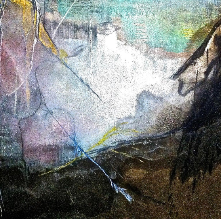 San Frencesco del Deserto - Black Abstract Painting by Andre Laurenti