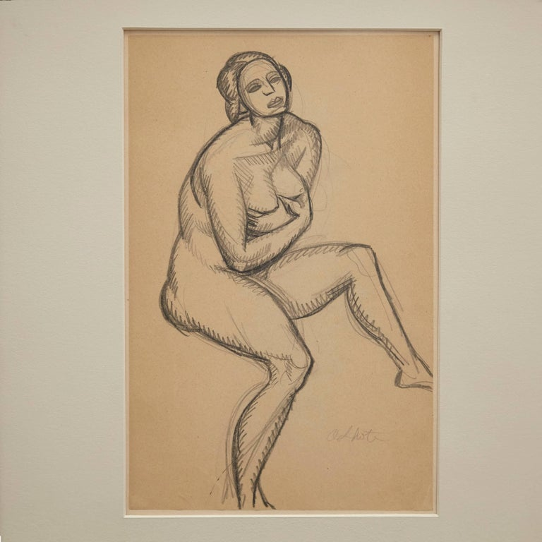 Drawing in pencil made by Andre Lhote in France, circa 1920. Framed in a 1920s frame with museum glass.  Andre Lhote was born in 1885 and was a French cubist painter of figure subjects, portraits, landscapes and still life.  After initially