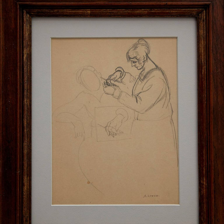 Drawing by André Lhote, circa 1920.  Hand signed  Dimensions of the layer: 26 x 20 cm. Hand signed.  Framed in 19th century frame.  In original condition.  André Lhote was born in 1885 and was a French Cubist painter of figure subjects,
