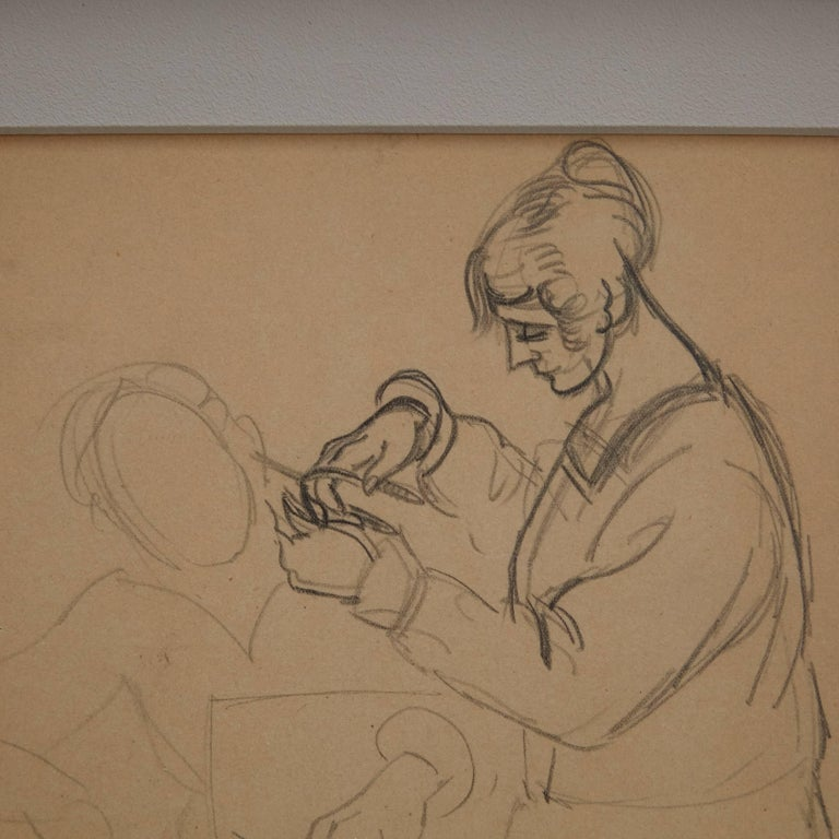 Mid-Century Modern André Lhote Drawing La Coiffeuse Hand Signed, circa 1920 For Sale