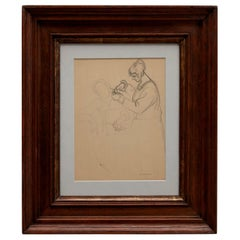 André Lhote Drawing La Coiffeuse Hand Signed, circa 1920