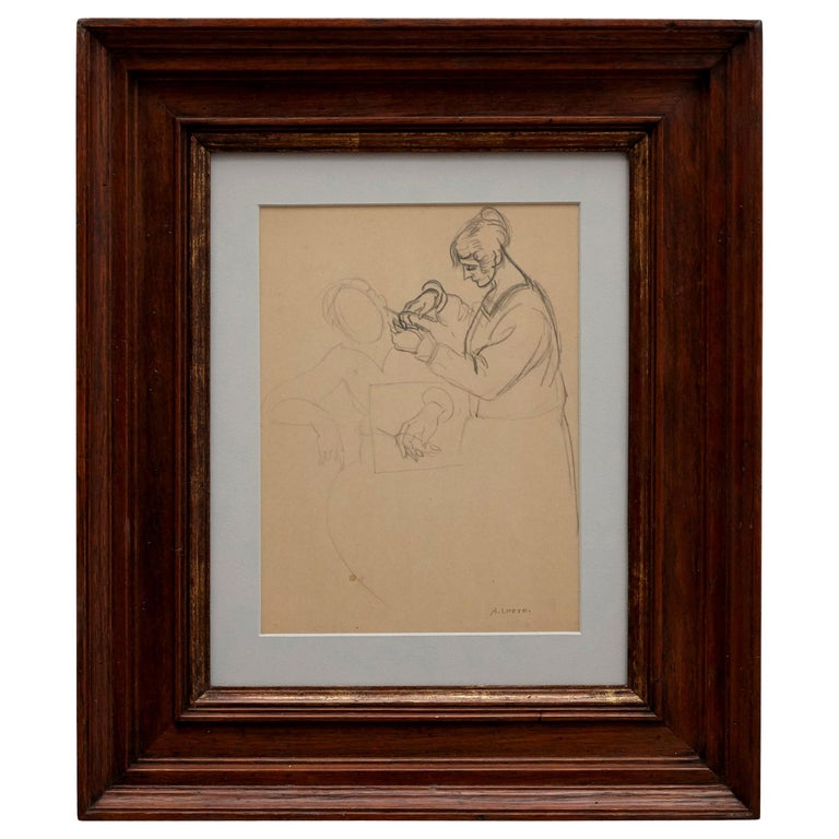 André Lhote Drawing La Coiffeuse Hand Signed, circa 1920 For Sale