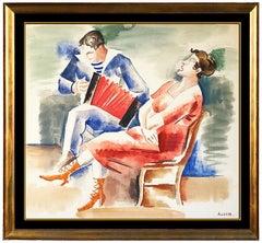 Andre Lhote RARE Original Gouache Painting Signed Music Portrait Framed Artwork