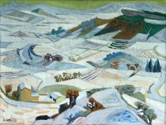 Neige a Gordes - 20th Century Cubist Oil, Snowy Winter Landscape by Andre Lhote