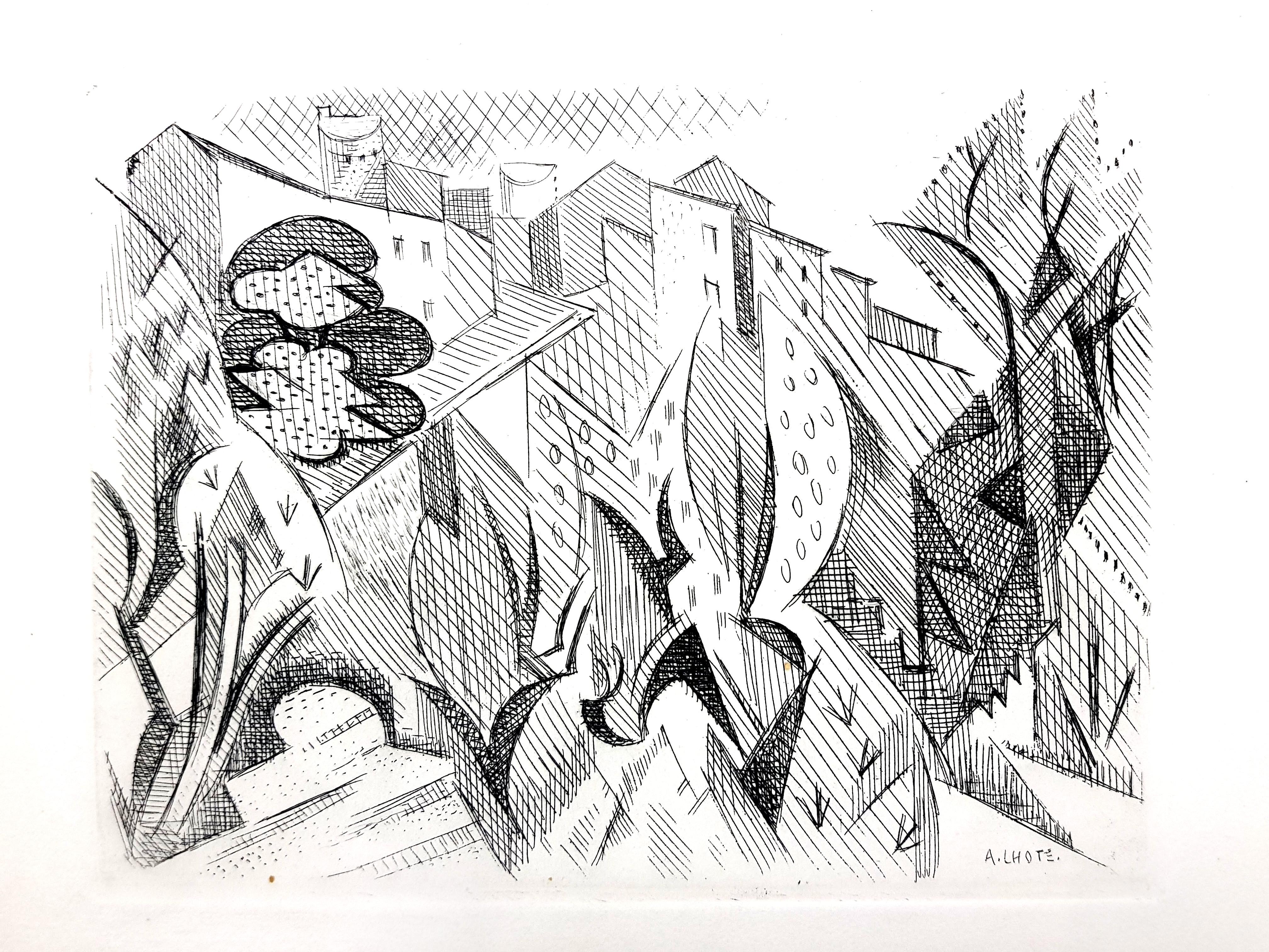 André Lhote - Cubist Landscape - Original Etching