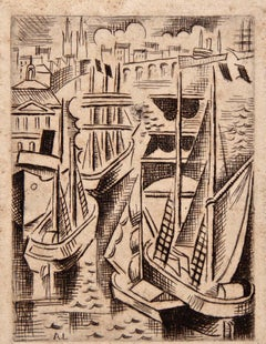 Bordeaux, The Harbor - Original Etching by André Lhote