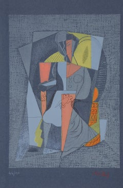 Femme Assise, Cubist Lithograph