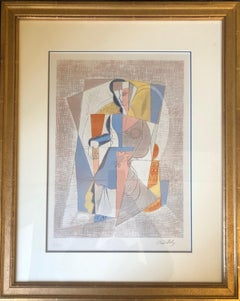 Femme Assise, Hand-Signed, Limited Edition Cubist Lithograph