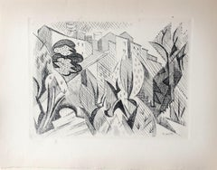 Small Village in Provence - Original Etching Signed in The Plate