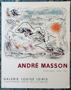 French Abstract Surrealist Vintage Lithograph Mourlot Poster Andre Masson