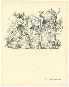 Surrealist Composition 4 - Original Collotype after André Masson - M20th century