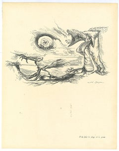 Surrealist Composition 7 - Original Collotype after A. Masson - Mid-20th Century