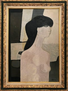 """""""Abstract Nude Woman"""" 20th Century French Impressionist Oil Painting on Canvas"""