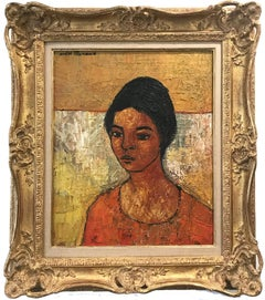 """Abstract Portrait"" 20th Century French Impressionist Oil Painting on Canvas"