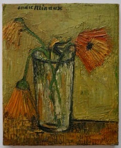 Nature Morte, a still life flowers, oil on canvas by Andre Minaux