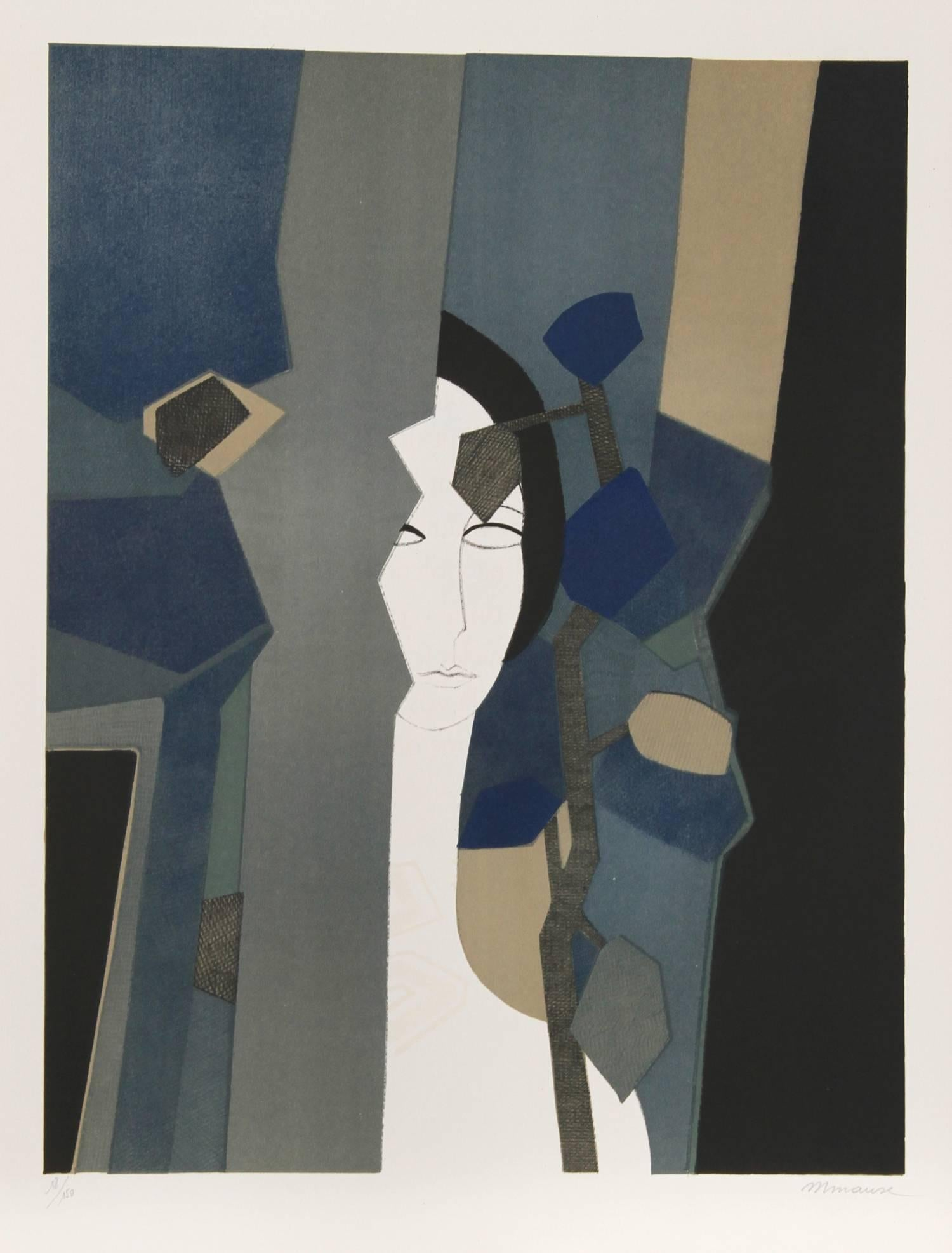 """""""Amant from the Helene Portfolio"""" Lithograph by Andre Minaux"""